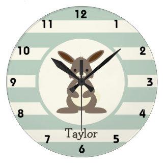 Conejo lindo, conejito en verde salvia ligera reloj de pared