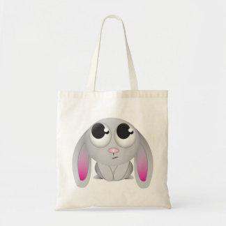 Conejo lindo del dibujo animado bolsa tela barata