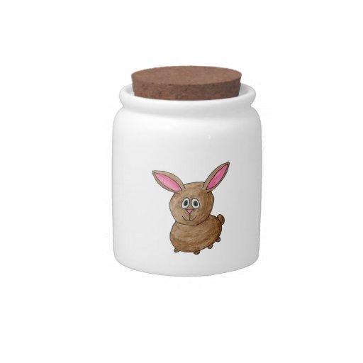 Conejo lindo divertido jarras para caramelos