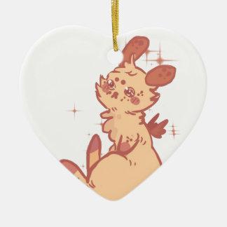 Conejo lindo el chispear (primer) adorno navideño de cerámica en forma de corazón