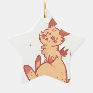 Conejo lindo el chispear (primer) adorno navideño de cerámica en forma de estrella