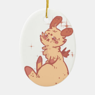 Conejo lindo el chispear (primer) adorno navideño ovalado de cerámica