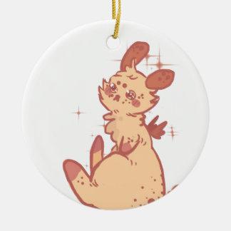 Conejo lindo el chispear (primer) adorno navideño redondo de cerámica