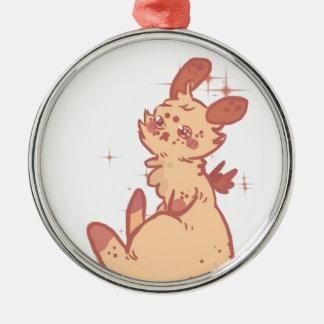 Conejo lindo el chispear (primer) adorno navideño redondo de metal