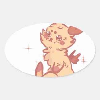 Conejo lindo el chispear (primer) pegatina de óval personalizadas