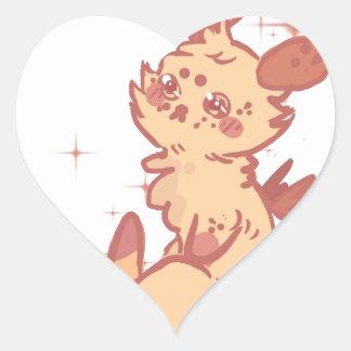 Conejo lindo el chispear (primer) pegatina en forma de corazón
