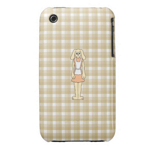 Conejo lindo en un fondo del control iPhone 3 Case-Mate cárcasa