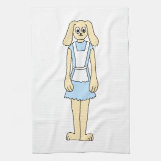 Conejo lindo en un vestido azul toallas de mano