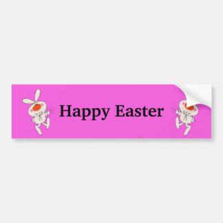 Conejo lindo feliz del baile de Pascua Pegatina De Parachoque