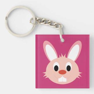 Conejo lindo Keycahin Llavero Cuadrado Acrílico A Doble Cara