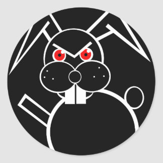 Conejo malvado pegatina redonda
