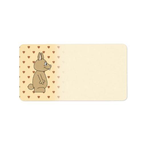 Conejo marrón claro lindo etiquetas de dirección