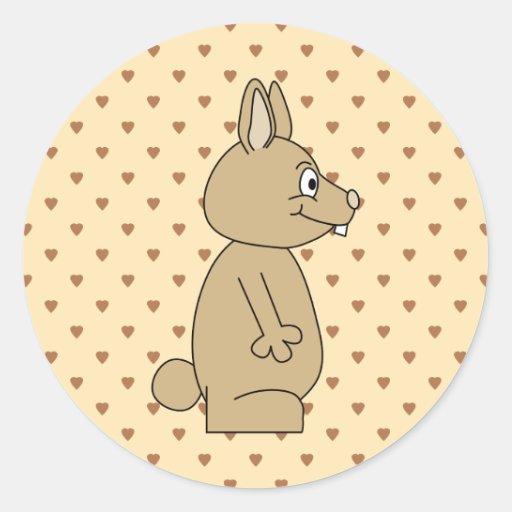 Conejo marrón claro lindo etiqueta redonda