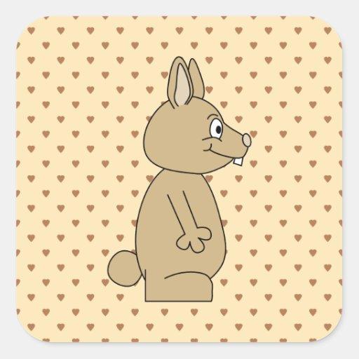 Conejo marrón claro lindo colcomanias cuadradass