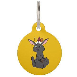 Conejo negro de la acción de gracias con el tocado placas para mascotas