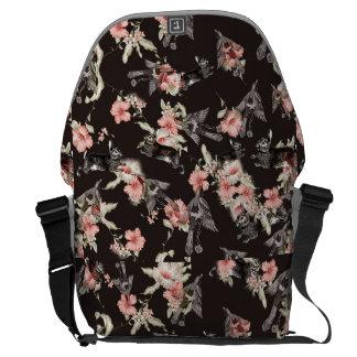 conejo, pájaros y flowers_black del bolso bolsa messenger