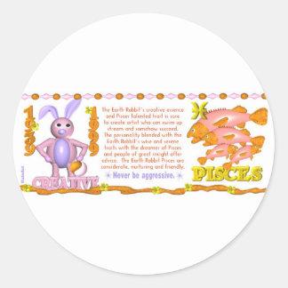 Conejo Piscis de la tierra del zodiaco de ValxArt Pegatinas Redondas