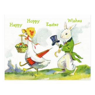 Conejo Postal-Vestido Pascua feliz del vintage, pa