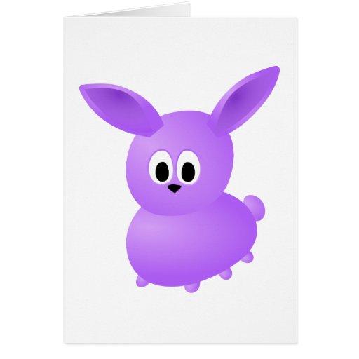 Conejo púrpura del bebé tarjeta de felicitación