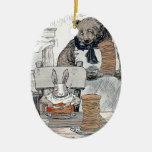 Conejo que come el desayuno de la crepe ornamento para arbol de navidad