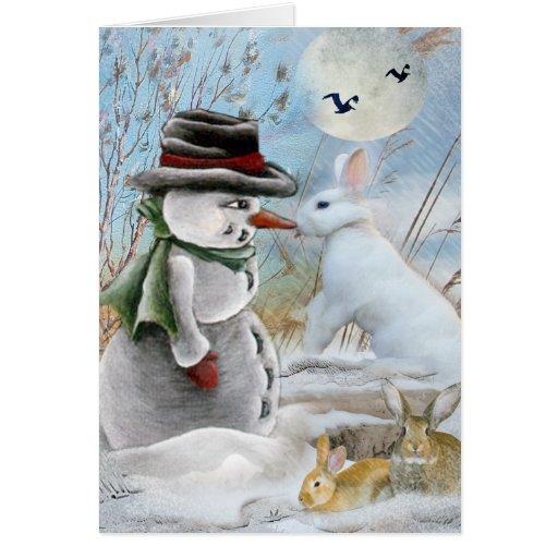 Conejo que come la nariz del muñeco de nieve tarjeta de felicitación