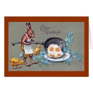 Conejo que fríe el vintage Pascua de los huevos Felicitacion