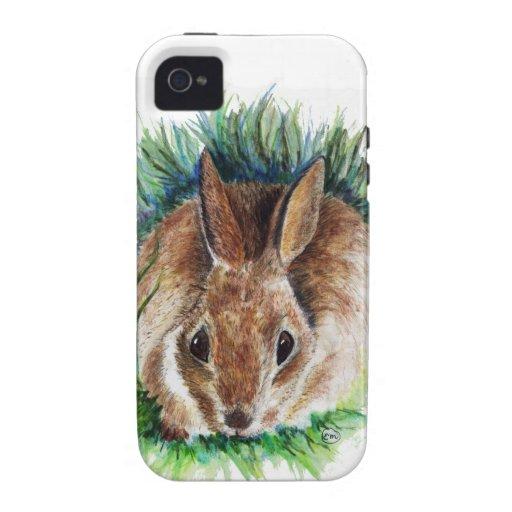 Conejo que oculta en la hierba - lápiz de la acuar iPhone 4 carcasa