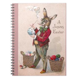 Conejo que pinta el vintage de los huevos de Pascu Libros De Apuntes Con Espiral