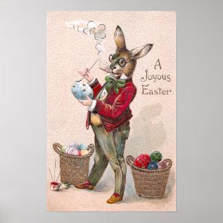 Conejo que pinta el vintage de los huevos de Pascu Poster