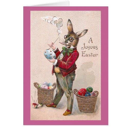 Conejo que pinta el vintage de los huevos de tarjeta de felicitación