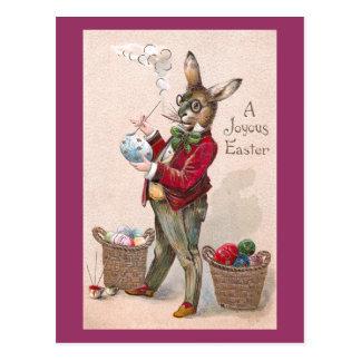 Conejo que pinta el vintage de los huevos de postales