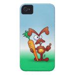 Conejo que sostiene una zanahoria sana iPhone 4 protector