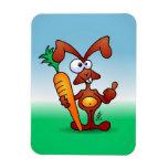Conejo que sostiene una zanahoria sana imanes de vinilo