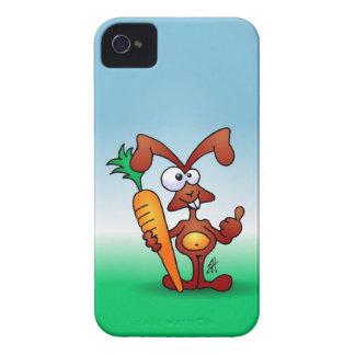 Conejo que sostiene una zanahoria sana iPhone 4 Case-Mate carcasa