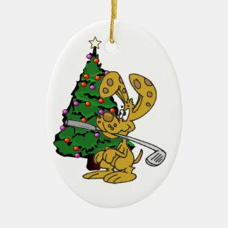 Conejo que trae el ornamento del navidad del club adorno navideño ovalado de cerámica