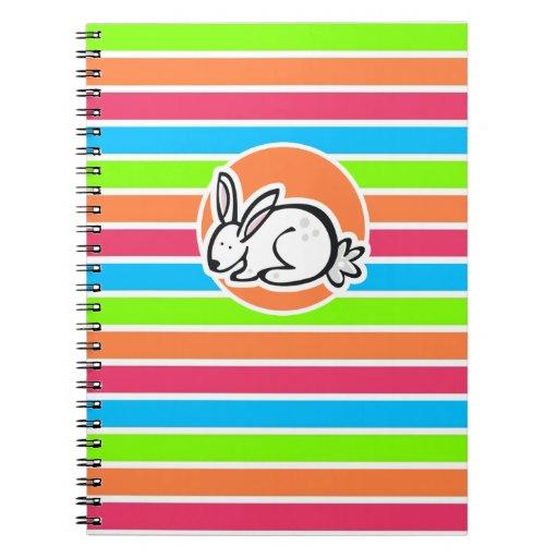Conejo; Rayas rosadas anaranjadas de neón del verd Libretas Espirales