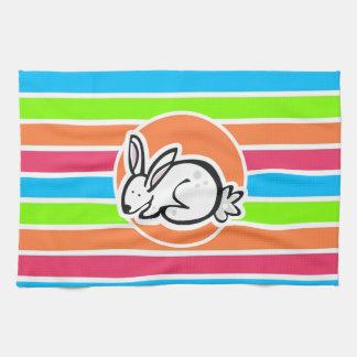 Conejo; Rayas rosadas anaranjadas de neón del verd Toalla