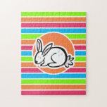 Conejo; Rayas rosadas anaranjadas de neón del verd Rompecabezas