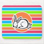 Conejo; Rayas rosadas anaranjadas de neón del verd Alfombrilla De Ratones