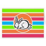 Conejo; Rayas rosadas anaranjadas de neón del verd Tarjeta