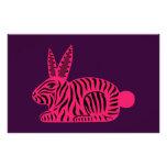 Conejo rosado de la cebra papelería de diseño