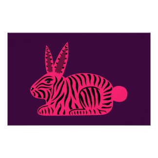 Conejo rosado de la cebra  papeleria de diseño