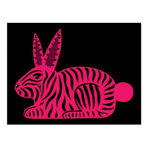 Conejo rosado de la cebra postal
