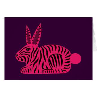 Conejo rosado de la cebra tarjeta de felicitación