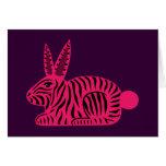 Conejo rosado de la cebra tarjetas
