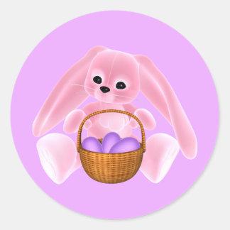 Conejo rosado de Pascua Etiqueta Redonda
