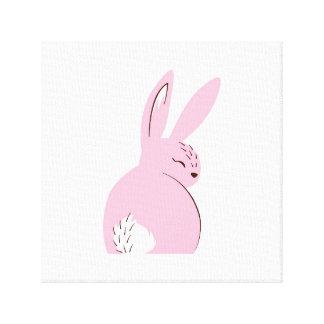 Conejo rosado del arbolado impresiones de lienzo