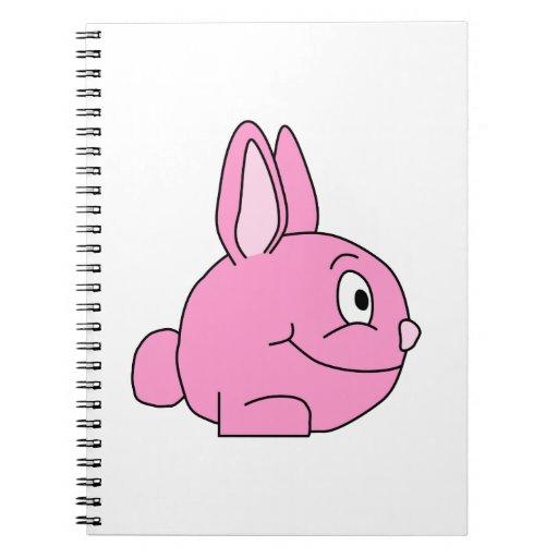 Conejo rosado libros de apuntes con espiral