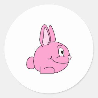 Conejo rosado pegatina redonda