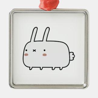 Conejo tímido adorno cuadrado plateado